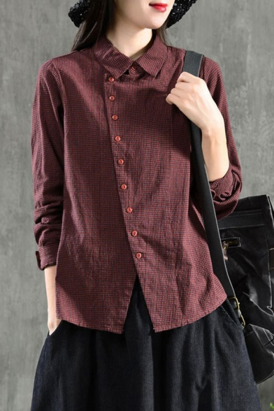 Vintage Womens Shirt Solid Color Plaid Pattern Oblique Button up Spread Collar Long Sleeve Loose Fit Shirt
