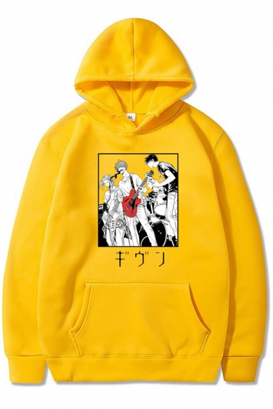 Womens Hoodie Creative Anime Given Character Microphone Guitar Japanese Letter Print Kangaroo Pocket Drawstring Long Sleeve Relaxed Fitted Hoodie