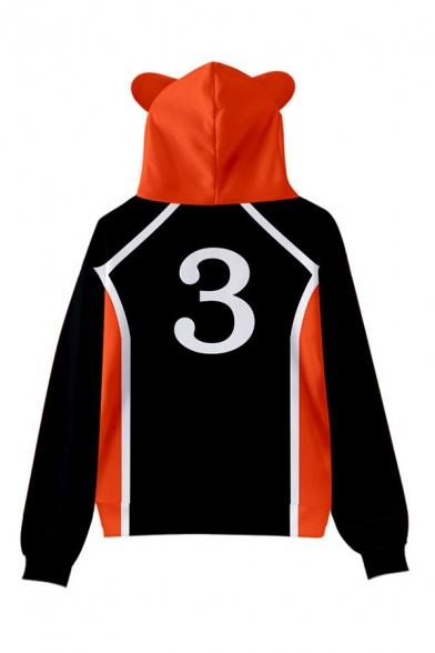 Womens Hooded Sweatshirt Trendy Contrast Footprint Number Letter Pattern Cat Ear Drawstring Long Sleeve Regular Fit Hooded Sweatshirt