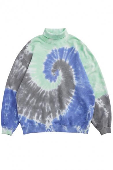 Cool Sweatshirt Ombre Tie Dye Pattern High Neck Long Sleeve Oversized Rib Knit Pullover Sweatshirt for Men