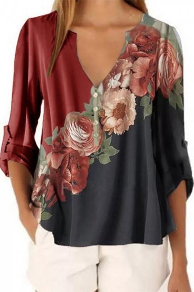 Fancy Women's Blouse Printed Rolled Hem Button V Neck Three-Quarter Sleeves Henley Blouse for Women