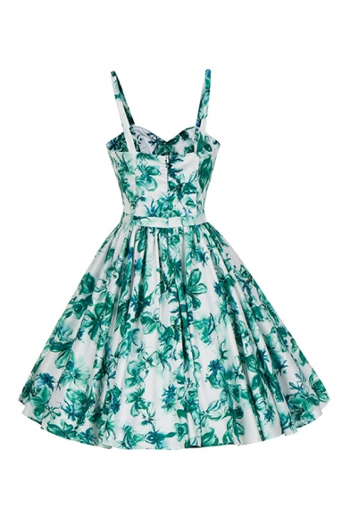 Fashionable Summer Sleeveless Button Down All Over Leaf Printed Mid Pleated A-Line Cami Dress in Green