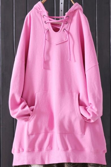 Stylish Women's Hoodie Cartoon Pattern Lace-up Hooded Kangaroo Pocket Long Sleeves Relaxed Fit Hooded Sweatshirt