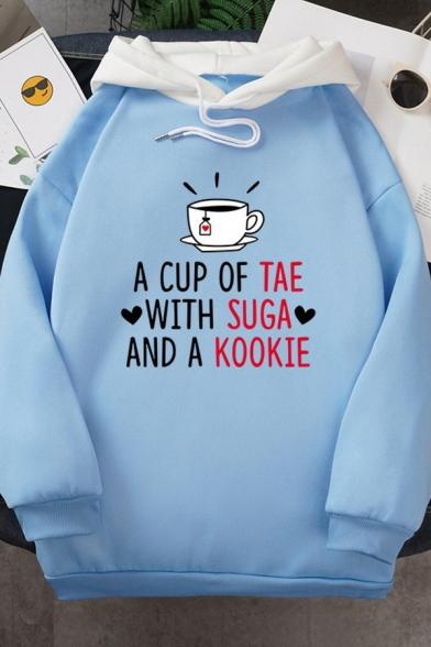 Womens Graphic Hoodie Creative Heart Letter A Cup of Tea with Sugar and a Cookie Print Drawstring Loose Fit Long Sleeve Contrast-Hooded Sweatshirt