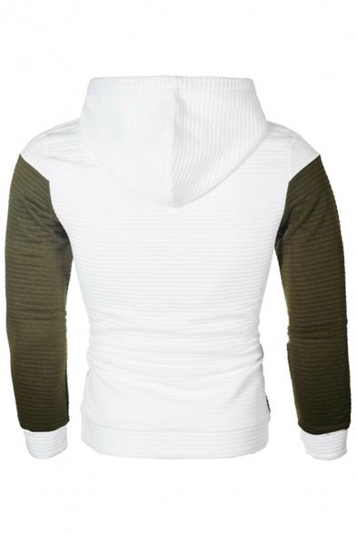 Basic Mens Hoodie Color Block Stitching Lattice Jacquard Drawstring Slim Fitted Long Sleeve Hoodie