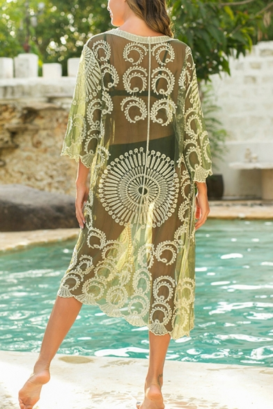 Girls Unique Beach Coat Transparent Embroidered Circle 3/4 Sleeve Knee-Long Cardigan