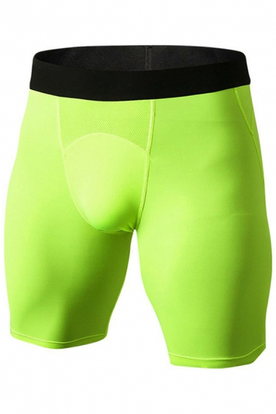 Mens Shorts Trendy Contrasted Elastic Waistband Skinny Fitted Stretch Quick-Dry Sport Shorts