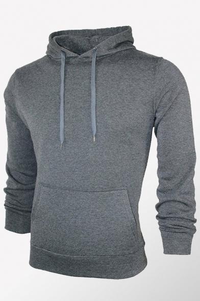 Retro Mens Hoodie Solid Color Drawstring Kangaroo Pocket Slim Fitted Long Sleeve Hoodie