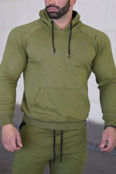 Vintage Mens Sport Sweatshirt Letter VQ Pattern Kangaroo Pocket Drawstring Long Sleeve Slim Fit Hooded Sweatshirt