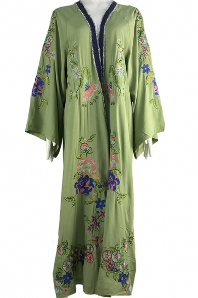 Boho Chic Green Cardigan Embroidered Morning Glory Long Sleeve Full Length Coat Dress for Women