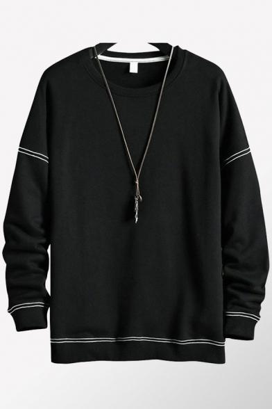Cool Mens Sweatshirt Contrast Topstitching Thick Rib Trim Round Neck Long Drop-Sleeve Regular Fit Pullover Sweatshirt