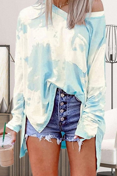 Fashion Tee Top Tie Dye Pattern Cold Shoulder Side Slits Long Sleeve Asymmetrical T-Shirt for Women