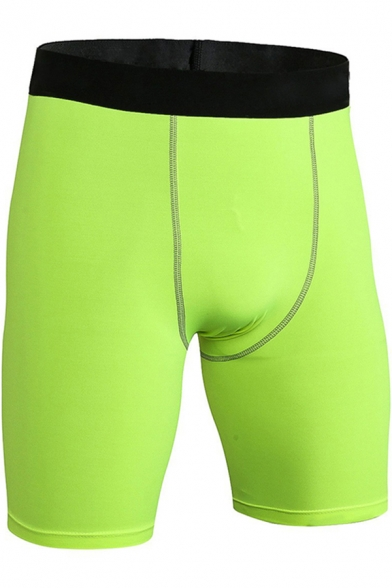 Retro Mens Shorts Contrasted Elastic Waistband Skinny Fitted Stretch Quick-Dry Sport Shorts
