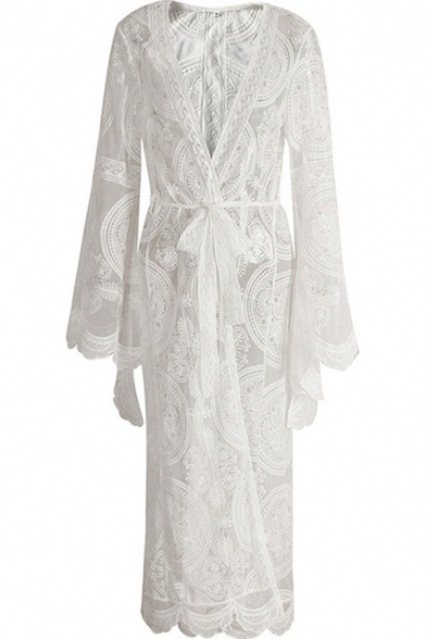 Trendy Womens Cardigan Transparent Lace Tie Front Long Flare Cuff Sleeve Full Length Cardigan