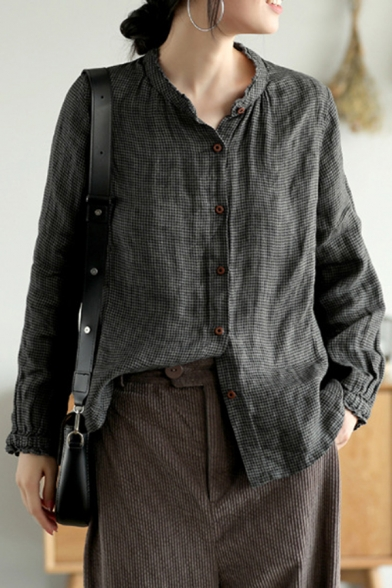 Womens Shirt Chic Houndstooth Pattern Linen Stringy Selvedge Stand Collar Button Detail Loose Fit Long Sleeve Shirt