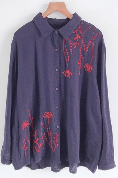 Basic Womens Shirt Flower Vine Embroidery Spread Collar Button Detail Loose Fit Long Sleeve Shirt
