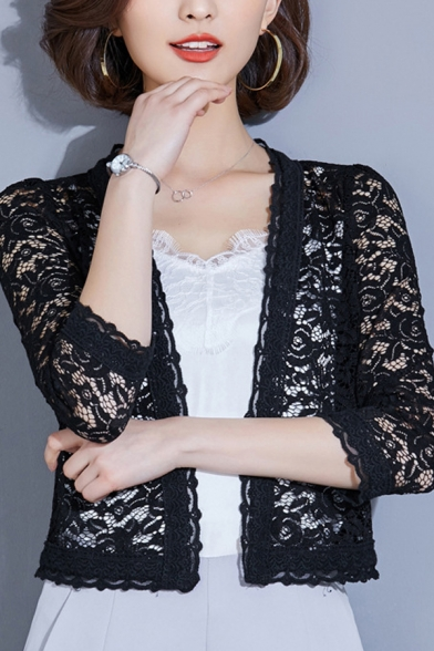 Chic Fitted Short Sleeve Floral Print Open Front Sheer Lace Shrug Coat