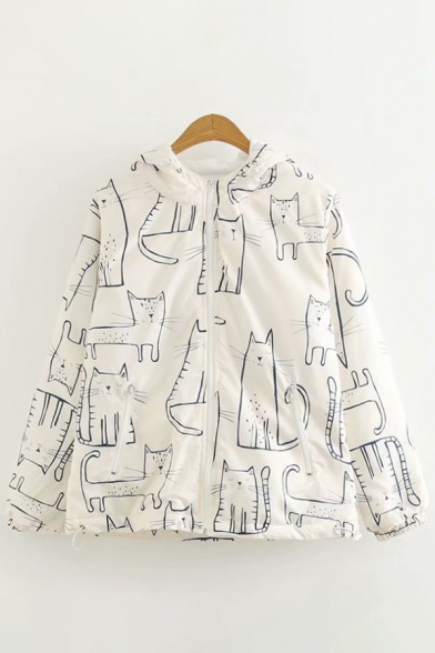 Color Block Cat Pattern Zip-UP Hooded Long Sleeve Coat