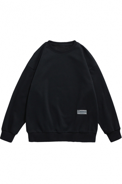 Cool Mens Sweatshirt Rib Trim Long Drop-Sleeve Relaxed Fit Crew Neck Cotton Pullover Sweatshirt