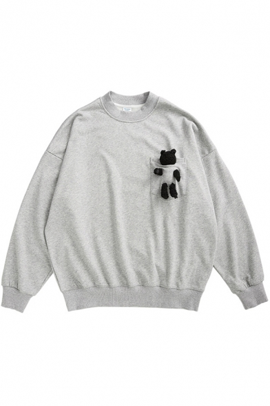 Fancy Sweatshirt Solid Color Teddy Bear Pattern Chest Pocket Round Neck Long Sleeve Relaxed Fit Pullover Sweatshirt for Men
