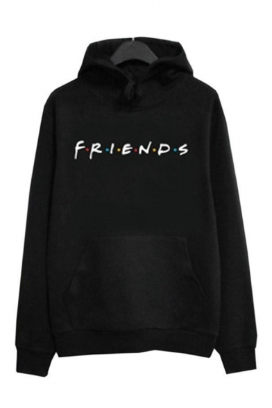 Leisure Fashion Long Sleeve Drawstring Letter FRIENDS Printed Relaxed Fit Hoodie for Girls