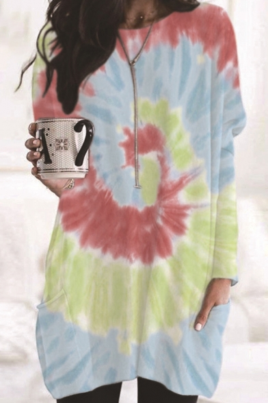 Leisure Tee Top Tie Dye All over Printed Front Pocket Round Neck Long-sleeved Regular Fitted Tunic T-Shirt for Women