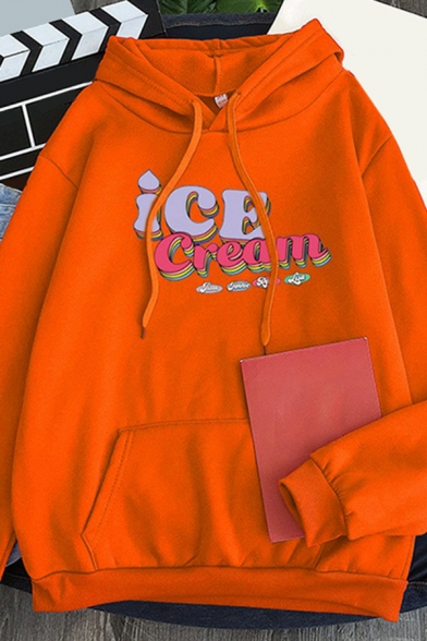 Womens Hoodie Fashionable Letter Ice Cream Pattern Kangaroo Pocket Drawstring Long Sleeve Relaxed Fitted Hooded Sweatshirt