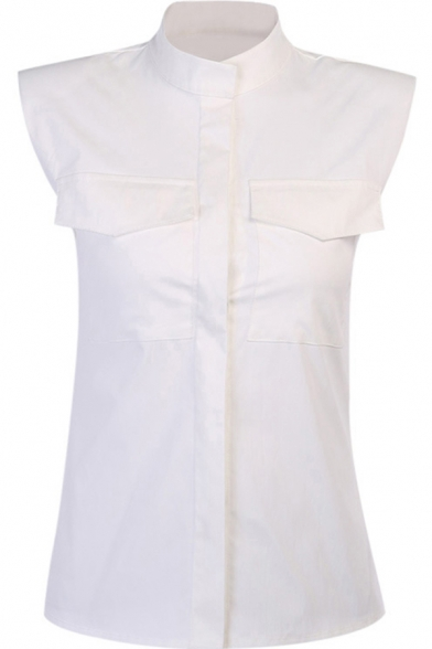 Womens Shirt Chic Solid Color Shoulder Pad Chest Flap Pockets Stand Collar Slim Fit Sleeveless Shirt
