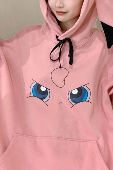 Womens Tunic Hooded Sweatshirt Trendy Cartoon Face Emoji Pattern Horn Hood Drawstring Kangaroo Pocket Loose Fit Long Sleeve Hooded Sweatshirt