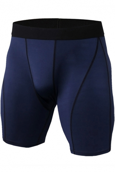 Mens Shorts Chic Contrasted Topstitching Quick-Dry Stretch Skinny Fitted Sport Shorts