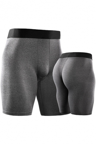Mens Shorts Unique Contrast Elastic Waistband Quick-Dry Stretch Skinny Fitted Sport Shorts
