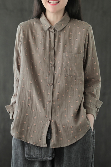 Womens Shirt Stylish Grape Print Spread Collar Button Detail Loose Fit Long Sleeve Shirt with Chest Pocket