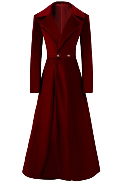 Creative Womens Coat Solid Color Velvet Button Detail Long Sleeve Notched Lapel Collar Slim Fit Ankle Length Trench Coat