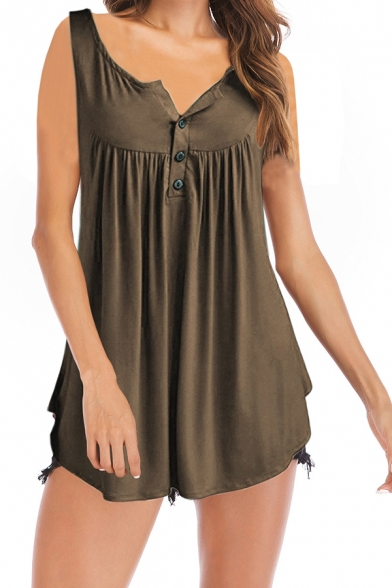 Basic Women's Tank Top Solid Color Pleated Detail Button Scoop Neck Sleeveless Cami Top