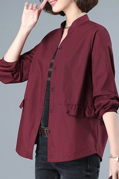 Classy Womens Shirt Plain Ruffle-Trimmed Waist Button-down Elastic Cuff Long Sleeve Stand Collar Shirt