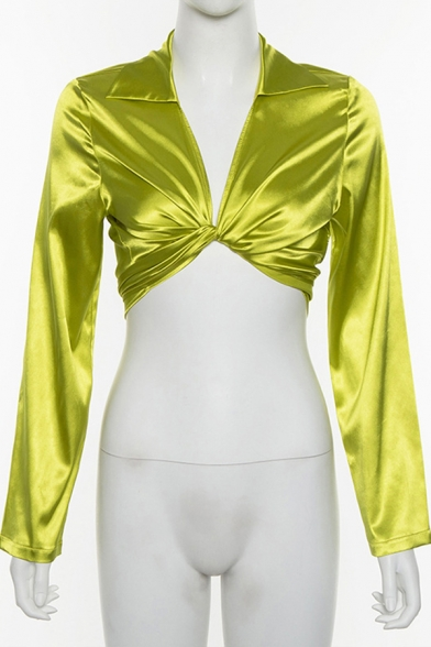Womens Shirt Casual Solid Color Twist-Front Tie Detail Long Sleeve Cropped Turn-down Collar Slim Fitted Shirt