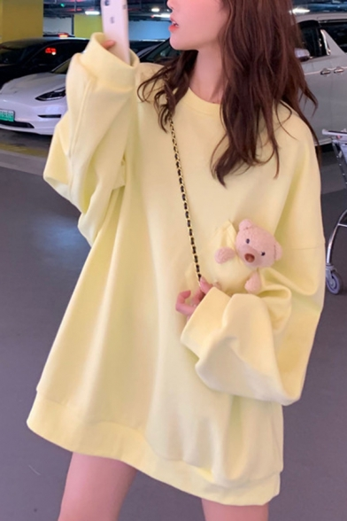 Vintage Womens Tunic Pullover Sweatshirt Bear-Pocket Decoration Drawstring Long Sleeve Relaxed Fitted Pullover Sweatshirt