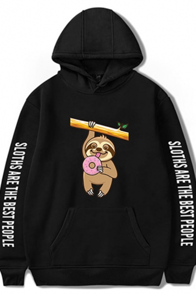 Novelty Womens Hoodie Sloth Letter Print Cuffed Kangaroo Pocket Drawstring Long Sleeve Relaxed Fitted Graphic Hoodie