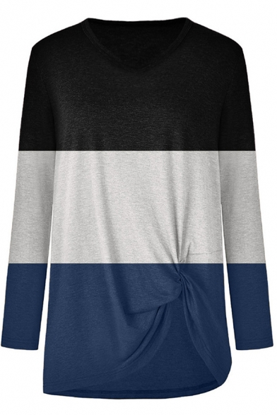 All-Match Women's Tee Top Color Block Twist Decoration Round Neck Long Sleeves Regular Fitted T-Shirt