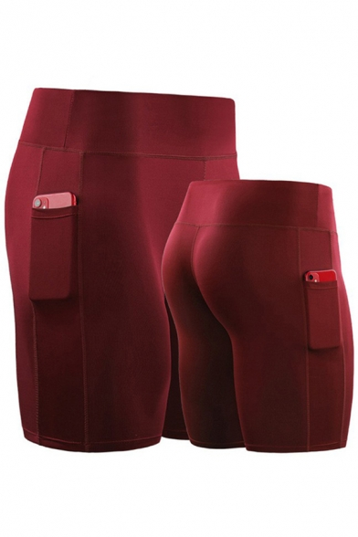 Cool Mens Shorts Solid Color Panel Side Pockets Quick-Dry Stretch Skinny Fitted Sport Shorts