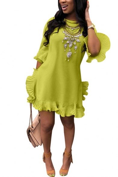Elegant Women's Dress Embroidered Beading Decoration Ruffles Solid Color Crew Neck Short Sleeves Asymmetrical Dress