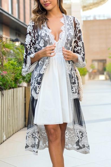 Fashion Black Knee-Long Cardigan Sheer Lace Three-Quarter Sleeve Cardigan for Girls
