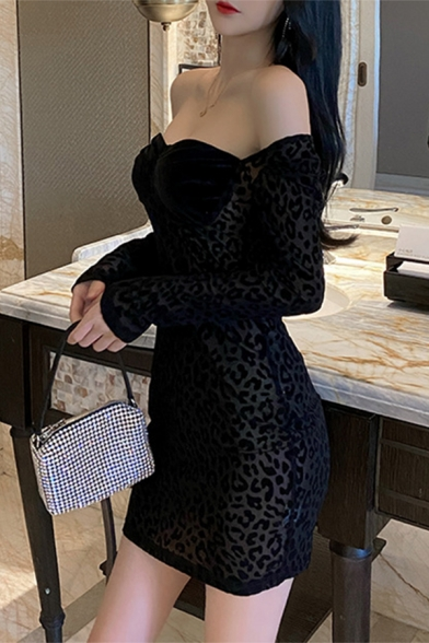 Female Popular Leopard Printed Sweetheart Neck Long Sleeve Sheer Mesh Panel Mini Black Party Dress