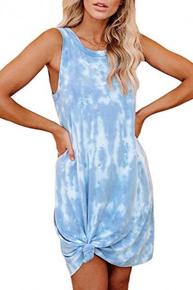 Leisure Tank Dress Tie Dye Printed Twist Design Round Neck Sleeveless Short Tank Dress for Women