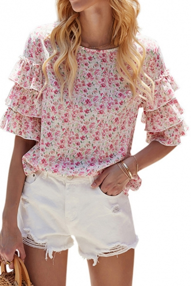 Trendy Girls Summer Blouse Ditsy Floral Layered Ruffle Half Sleeve Crew Neck Fitted Shirt
