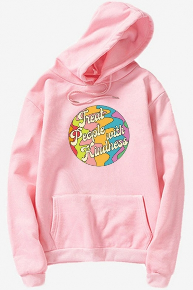 Womens Hoodie Simple Letter Treat People with Kindness Pattern Kangaroo Pocket Drawstring Long Sleeve Relaxed Fitted Hooded Sweatshirt
