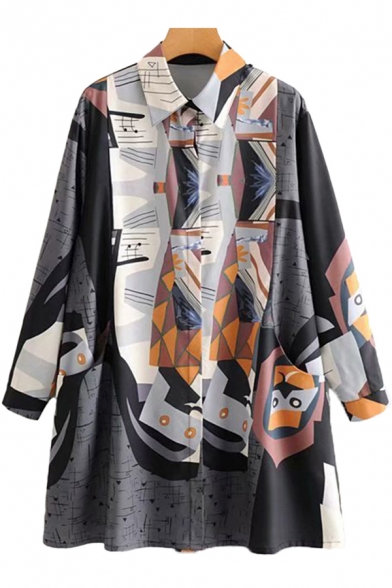 Womens Shirt Casual Color Block Abstract Note Triangle Print Button up Tunic Spread Collar Long Sleeve Loose Fit Shirt