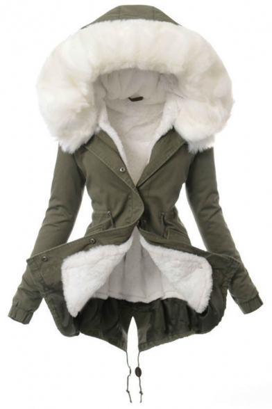 Army Green Cool Winter Long Sleeve Hooded Press Button Down Drawstring Camo Printed Shearling Trim Thick Loose Parka Coat for Girls