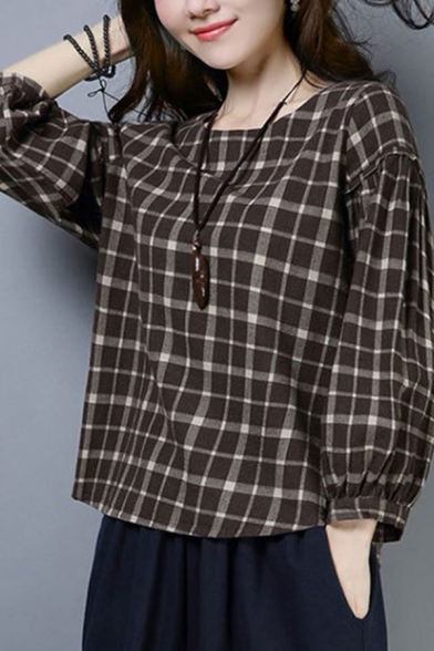 Classic Womens Flax Shirt Plaid Rosette Back Tie Elastic Cuff Full Bishop Sleeve Round Neck Shirt