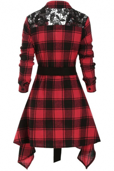 Retro Womens Shirt Plaid Pattern Lace Patchwork Asymmetric Hem Button up Turn down Collar Long Sleeve A-Line Slim Fitted Shirt Dress